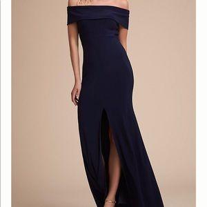 BHLDN Over the Shoulder Navy Ember Dress Gown 0